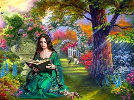 emerald girl - garden, beautiful, girl, reading