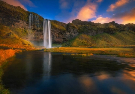 Iceland Waterfall - water, refection, waterfall, nature, sky, clouds, rocks, mountain, beauty, Iceland