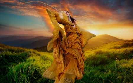 Ethereal Dance Of The Fairy - fairy, pretty, lovely, wings, glow, orange, yellow, grandma gingerbread, sunset, beautiful, woman, etheral women, Ethereal Dance Of The Fairy, gorgeous