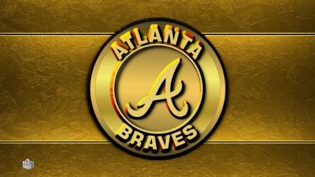Atlanta Braves Gold Logo Baseball Sports Background