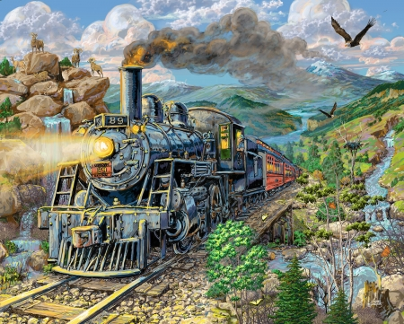 Big Horn Express - mountains, locomotive, train, painting, steam, railways, artwork