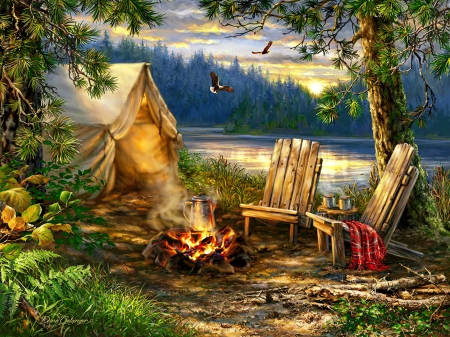 Evening at the lake - forest, fire, art, romantic, camping, summer, evening, lake