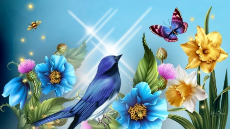 Bird Blossom Butterfly Flowers Nature Background
