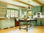 Country Kitchen In Mint Green