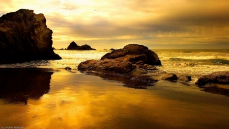 Golden Beach - rocks, refection, ocean, sunset, waves, clouds, sky, sea, gold