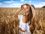Model Posing in a Field of Wheat