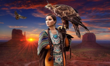 Lady with a Falcon - Native, sunset, falcon, canyon, stunning, scenic, model, Women, beautiful, outdoors, bird, feminine
