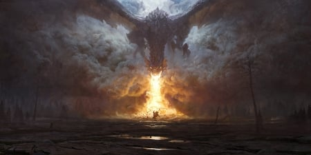 Dragon's attack - attack, dragon, fire, fantasy, luminos, rutkovski