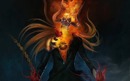 GHOST RIDER - back, arts, FIRE, fantasy, ghost, rider, ground