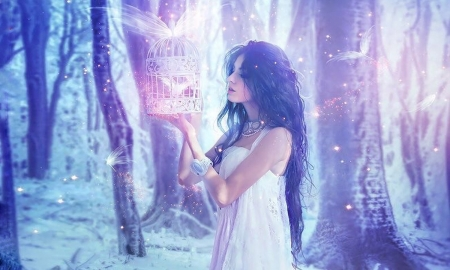 Ethereal Beauty - femininity, woods, Birdcage, Ethereal, woman, softness, outdoors, dreamy, brunette, Magical