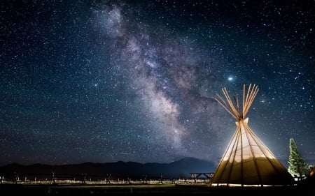 Wigwam under Stars - stars, hut, night, wigwam, sky
