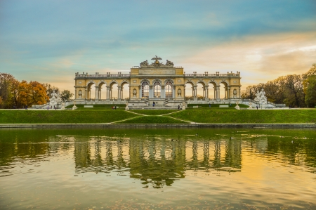 Summer Garden - pretty, warm, glow, tourism, imperial, architectual, sunset, palace, royal, water, baroque, cultural, Vienna, austria, historical