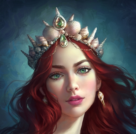 Mermaid - portrait, selenada, art, frumusete, redhead, rose, luminos, fantasy, shell, face, jewel, siren, princess