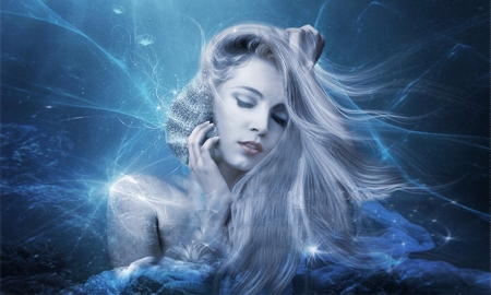 Sounds of The Sea - seashell, shell, Mermaid, ocean, blue and white, Face, sea, Pretty, lovely, Fantasy