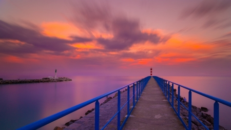 Coastal Pier at Sunset - Sunsets, Nature, Sea, Sky, Clouds, Piers