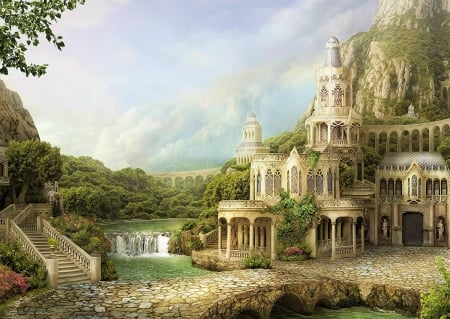 Mountain Palace - bridge, building, pillars, waterfall, stairs, artwork