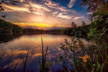 Serenity Lake - Lakes, Clouds, Dusk, Nature