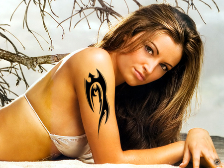 MARIA - tattooes, girls, hot, maria, tattoo, tato, beautiful, tatu, sexy, sher, kanellis, tattooed, woman, beach, women, divas, sher ali, girl, wwe, logo, diva