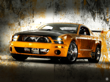 Muscle Mustang - car, gt 500, gt, ford, black, 500, dirty, america, sher, muscle, american, grunge, orange, shelby, sher ali, ali, mustand, auto, power