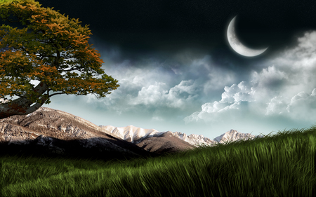 Moon, Mountains, Clouds - widescreen, clouds, sky, moon, mountains