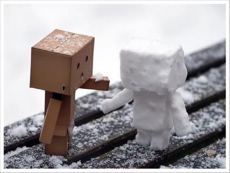 Danbo's SnowMan - snow, christmas, robot, danbo, cute