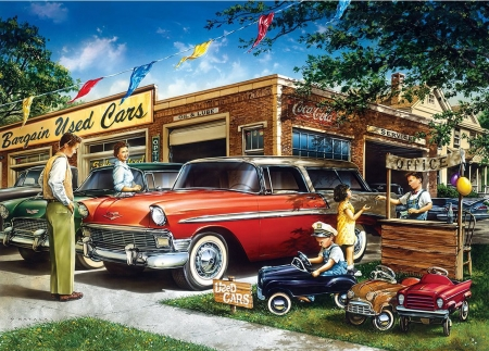 Bargain Used Cars - children, store, artwork, people, painting