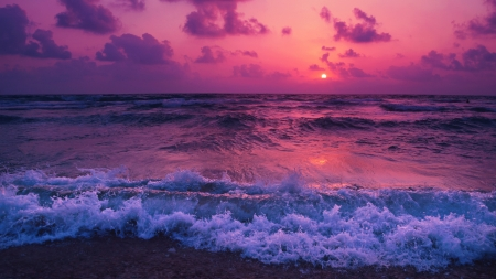 Pink Ocean Sunset - Oceans & Nature
