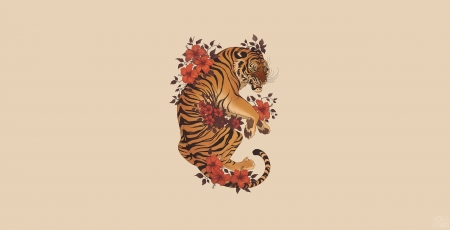 Tiger - animal, fantasy, flower, nora potwora, tigru, tiger, minimalism
