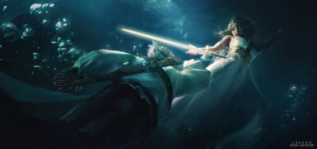 Excalibur - fantasy, girl, tian zi, man, blue, sword, couple, underwater, arthur, excalibur