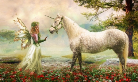 Fairy and a Unicorn - Fairy, fantasy, unicorn, magical, Painting, mythical, Dreamy, softness