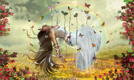 Carried by Butterflies - Rainbow, lovely, serene, butterflies, Fantasy, fairy, digiral, softness