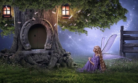 Fairy House - tree, house, fantasy land, lantern, magical, digital, Fantasy, fairy, dreamy