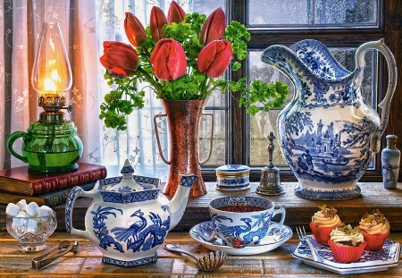 Still Life - tea, window, porcelain, cupcakes, sugar, tulips