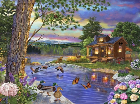 Riverside Cabin - water, tree, painting, flowers, ducks, sky, clouds, artwork