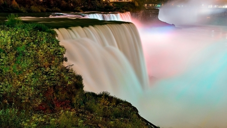 Evening Rainbow - city, trees, waterfalls, colorful, nature, lights