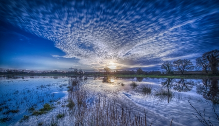 Sunrise lake - Lake, Reflection, Sky, Clouds