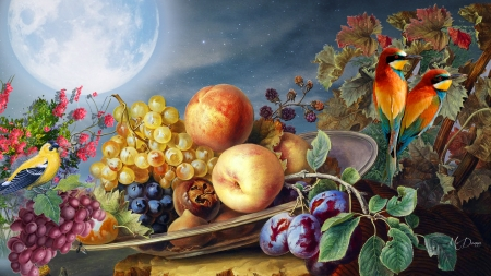 Fruit & Birds - Firefox theme, fall, autumn, harvest, food, apples, birds, floral, grapes, fruit, moon, leaves, flowers, summer, peach