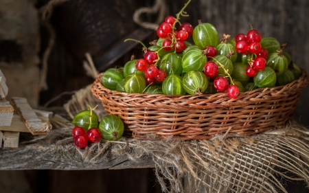 Berries - fruit, red, berry, green, basket