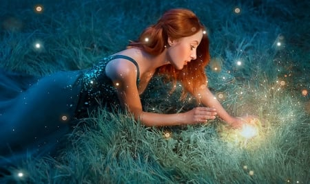 The Magic Flower - redhead, grass, peaceful, magical, flower, Fantasy, woman, dreamy, glowing, serene