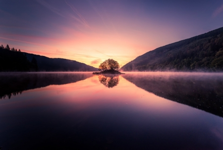 Dawn Reflections in an English Lake - Lakes, Dawn, England, Nature, Reflections