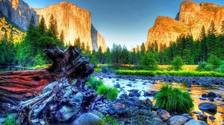 Merced River, Yosemite Valley - rocks, water, dr, california, usa, mountains, trees, sky, hdr