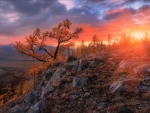 Sunset in Altai Mountains