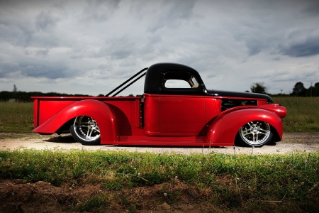 Customized 1946 Chevy Pickup - red, trucks, customized, 1946