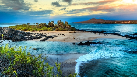 Galapagos Islands - Sand, Islands, Oceans, Nature, sunsets
