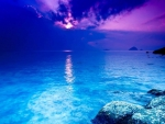 Blue Night Sky Ocean