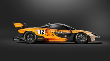 McLaren Senna GTR - vehicles, McLaren Senna GTR, side view, cars, yellow cars, dark background, McLaren