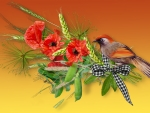 Autumn Poppies and Bird