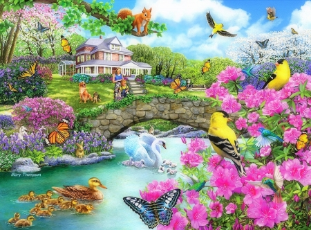Crossing the Footbridge - lakes, houses, bridges, ducks, love four seasons, birds, attractions in dreams, butterflies, spring, swans, paintings, garden, flowers, summer, nature, animals, butterfly designs