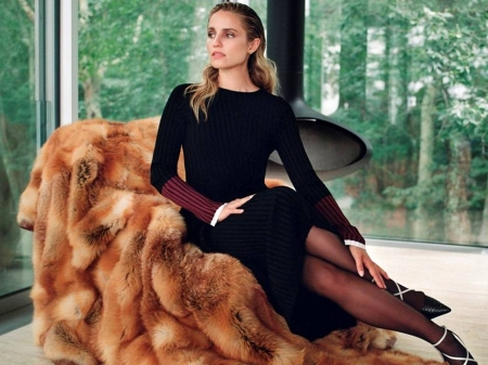 Dianna Agron - dress, window, legs, model, beautiful, heels, Dianna, Agron, 2019, stockings, actress, wallpaper, hot, Dianna Agron, chair, fur