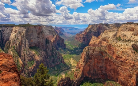Zion Canyon, Utah, USA - rocks, river, Zion, canyon, America